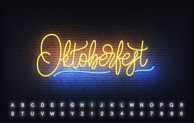 Oktoberfest neon lettering template. bright sign with custom typography for oktoberfest.