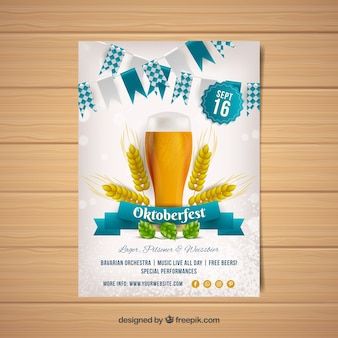 Oktoberfest party brochure with beer