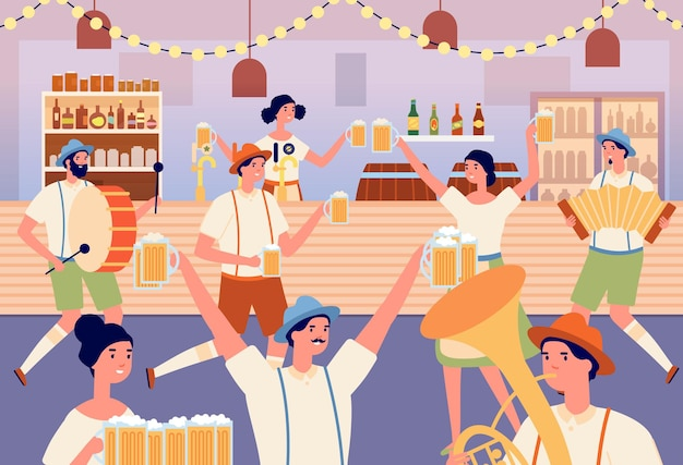 Oktoberfest party. cartoon dancing woman, traditional bavarian fest in beer bar. musicians and dancers, people with mugs vector illustration. bavaria party traditional, german character musician