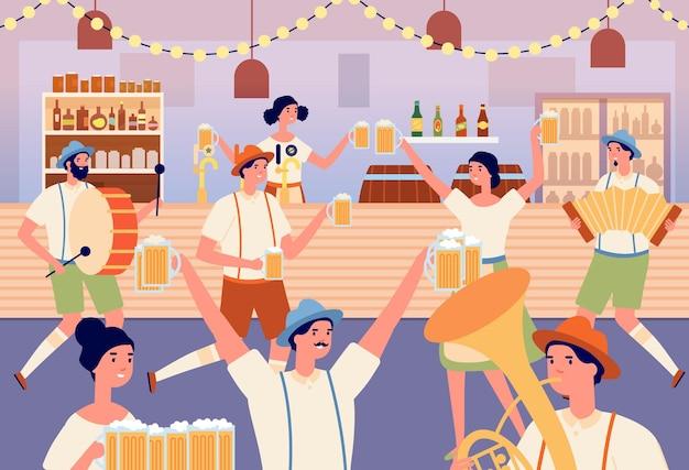 Октоберфест вечеринка. мультфильм танцующая женщина, традиционный баварский праздник в пивном баре. музыканты и танцоры, люди с кружками векторные иллюстрации. традиционная вечеринка в баварии, музыкант с немецким характером