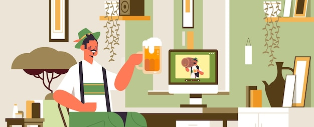 Октоберфест вечеринка праздник человек пьет пиво