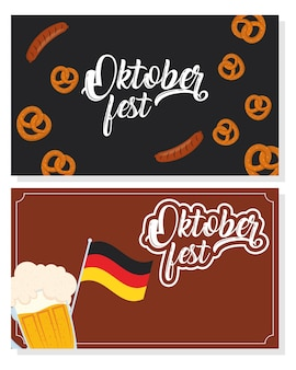 Oktoberfest party celebration with beer and germany flag vector illustration design