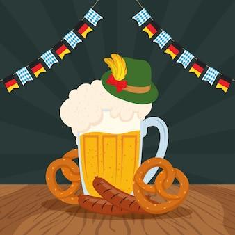 Празднование вечеринки октоберфест с пивной банкой и едой векторная иллюстрация
