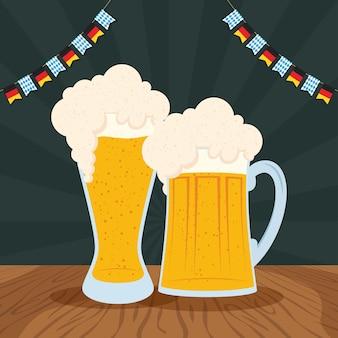 ビールと花輪のオクトーバーフェストパーティーのお祝いベクトルイラストデザイン