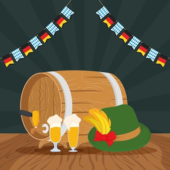 Oktoberfest party celebration with beers and tyrolean hat vector illustration design