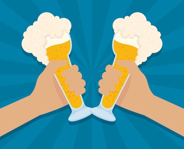 手とビールカップベクトルイラストデザインとオクトーバーフェストパーティーのお祝い