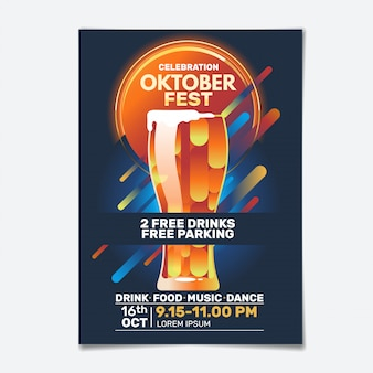 Oktoberfest party flyer or poster template design invitation for beer festival celebration