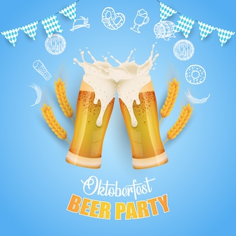 Oktoberfest party illustration with fresh beer