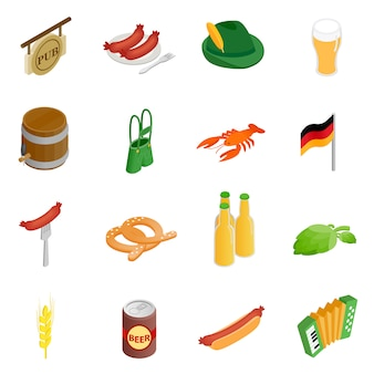 Oktoberfest party isometric 3d icons