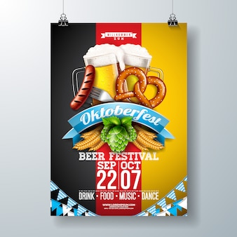 Oktoberfest party poster illustration