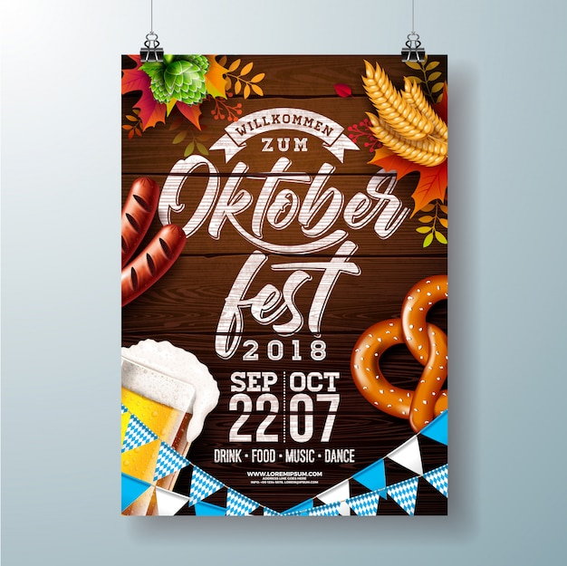 Oktoberfest party poster vector illustration