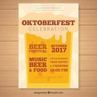Oktoberfest party poster with beer