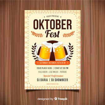 Oktoberfest party poster with realistic design