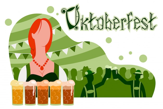 Oktoberfest poster, banner with a girl in a traditional suit, glasses of beer and a party with silhouettes of people.