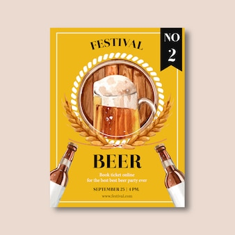 Oktoberfest poster design with beer, barley, circular center on ticket watercolor illustration