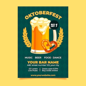 Poster dell'oktoberfest in design piatto