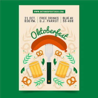 Manifesto dell'oktoberfest in design piatto