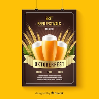Oktoberfest poster mockup in realistic style