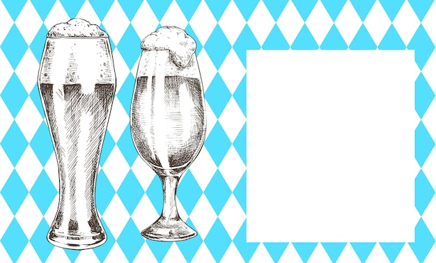 Oktoberfest poster pair beer goblet with foamy ale