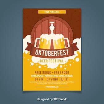 Oktoberfest poster template flat style