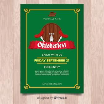 Oktoberfest poster template with flat design