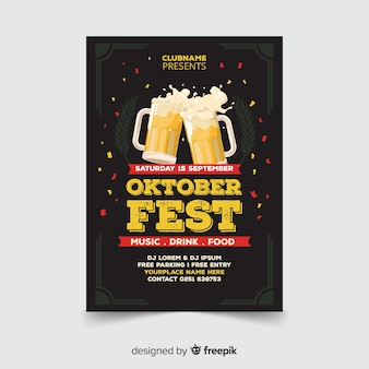 Oktoberfest poster template with flat design