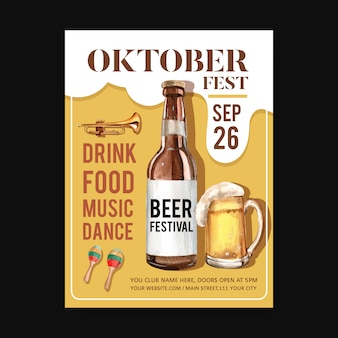 Oktoberfest poster template with isolated musical instrument, beer design watercolor illustration