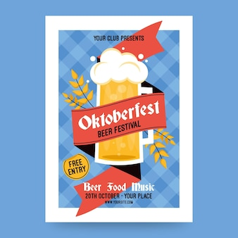 Oktoberfest poster template with pint