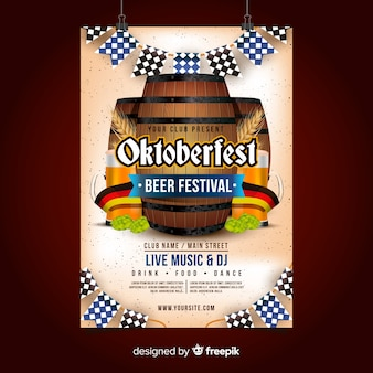 Oktoberfest poster template with realistic design