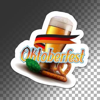 Oktoberfest poster vector illustration sticker transparent