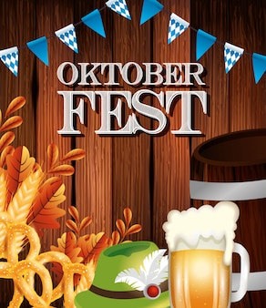 Oktoberfest poster with beer jar and icons