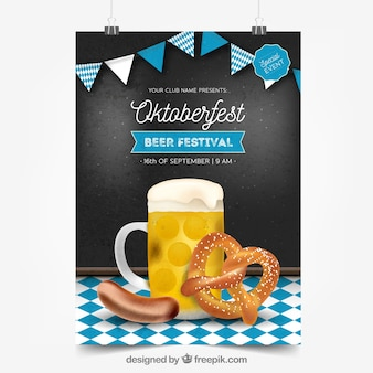 Oktoberfest poster with beer, pretzel and sausage