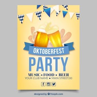 Плакат октоберфест с двумя пивами и синей лентой