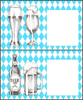 Oktoberfest posters set beer goblets bottle vector