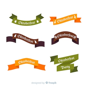 Oktoberfest ribbon collection flat design