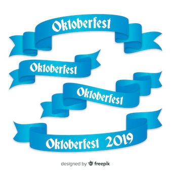 Oktoberfest ribbons collection in flat design