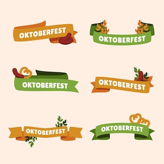 Oktoberfest ribbons collection Free Vector