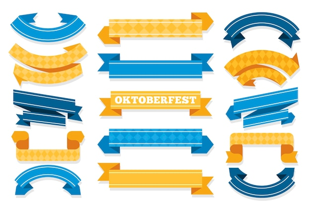 Ленты октоберфест в плоском дизайне