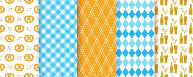 옥토버페스트 완벽 한 배경입니다. 10월 페스트 패턴입니다. 벡터. 마름모, 맥주, 프레첼, 격자 무늬 및 깅엄으로 인쇄합니다. 독일 전통 질감의 집합입니다. 바이에른 다이아몬드 벽지