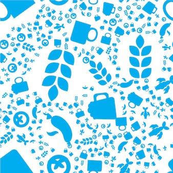 オクトーバーフェストのシームレスなパターン。印刷、布、壁紙、背景の青白ビール祭りの飾り。ベクター
