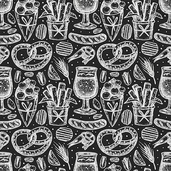Oktoberfest seamless pattern, chalk board design.