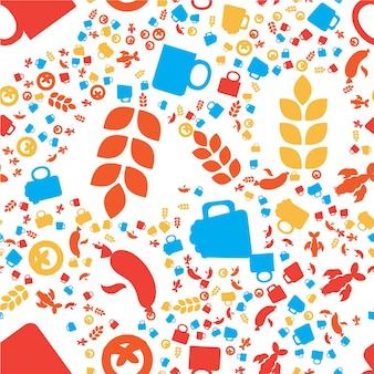 オクトーバーフェストのシームレスなパターン。印刷、布、壁紙、背景のためのカラフルなビール祭りの飾り。ベクター