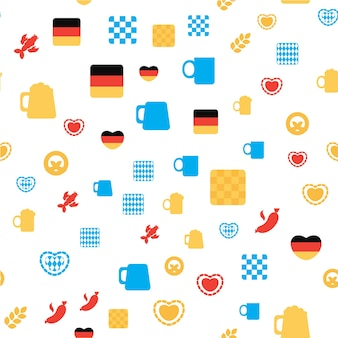 Oktoberfest seamless pattern. colorful beer festival ornament for print, cloth, wallpaper, backdrop. vector