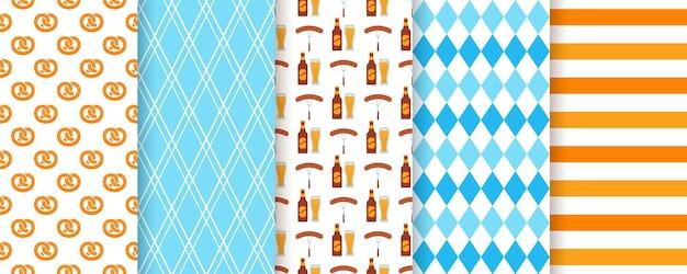 オクトーバーフェストのシームレスなパターン。オクトーバーフェストの背景。ドイツの伝統的な壁紙のセットです。