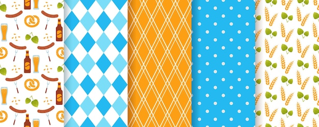 Oktoberfest seamless pattern. octoberfest texture with rhombus, beer, ears of wheat and polka dot.
