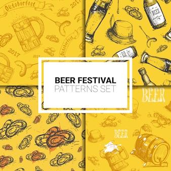 Oktoberfest seamless pattern set german beer festival