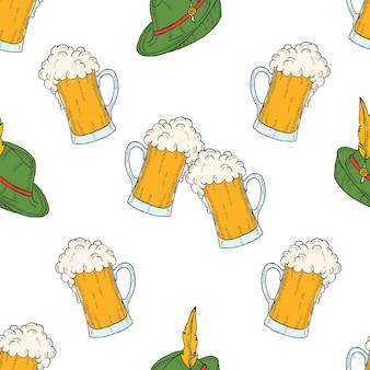 ビールと帽子の色付きのアイコンガラスとオクトーバーフェストのシームレスパターン