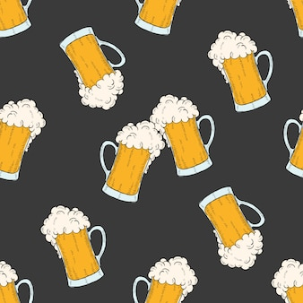 Oktoberfest seamless pattern with colored icons glasses of beer