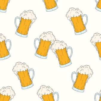 Oktoberfest seamless pattern with colored icons glasses of beers