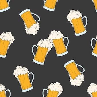 ビールの色付きのアイコングラスとオクトーバーフェストのシームレスパターン